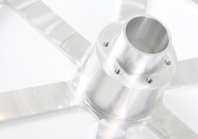 CNC Machined Carousel Wheel - close up (dims. outside dia - 255mm)