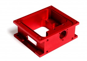 Red Anodised CNC Machined Enclosure (dims. 100x80x40mm)
