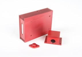 Red Anodised selection of CNC Machined Components (dims. largest component 125x95x30mm)